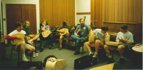tuning up before a class, LSA Seminar West, Vancouver Early Muisc Festival 1996