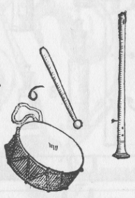 pipe & tabor from Michael Praetorius, Syntagma Musicum, 1619