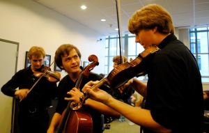 Music City Youth Orchestra students warm up before a concert, May 22, 2011, Schermerhorn Symphony center, Nashville