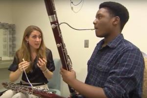 Nashville Symphony Principal Bassoon Julia Harguindey teaches Accelerando student cedric Quinn a lesson, from Arts Break, WNPT