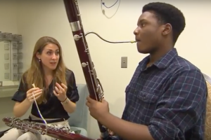 Nashville Symphony Principal Bassoon Julia Harguindey teaches Accelerando student cedric Quinn a lesson, from Arts Break, WNPT