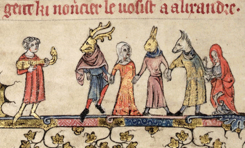 Mummers, from Bodleian Library MS Bodl. 264, fool 24v