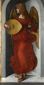 Angel in Red with a Lute, 1490s ~ attributed to Leonardo da Vinci (1452-1519) or one of his associates