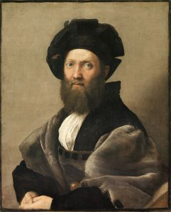 portrait of Baldassarre Castiglione, Count of Casatico (1478-1529) by Raphael, 1514/1515. One of many prominent renaissance artists and men of letters patronized by Isabella d'Este, today Castiglione is most famous for 'The Book of the Courtier', which was published in 1528. The book was translated into Spanish, German, French, Polish, and English and over a hundred editions over the next century. 'The Book of the Courtier' describes the ideal characteristics for a renaissance prince and his court - it was tremendously influential and served as a primer of court etiquette and education for generations. One of the many qualities extolled by 'The Book of the Courtier' is an education in music - and the ability to play the lute.