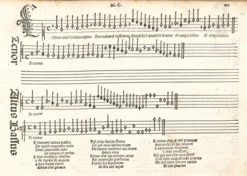 'Come chel bianco cigno' by Marchetto Cara from 'Frottole Libro Primo' published by Petrucci in 1504.