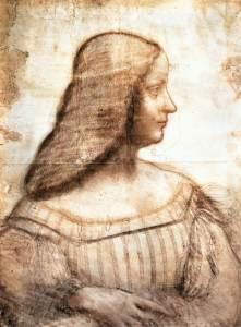 portrait of Isabella d'Este by Leonardo da Vinci, c.1500