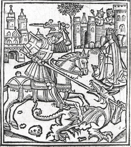 Woodcut of St George Slaying the Dragon from Life of Saint George, 1515, by Alexander Barclay (1476-1552)