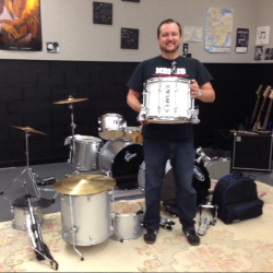 from my instagram feed: Nashville Big Picture High School teacher Graham Mote receives a drum set from the symphony on behalf of the school's after school band program