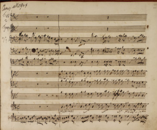the first page of the Hallelujah Chorus from Händel's working manuscript of Messiah. The entire manuscript may be viewed here online at the British Library.