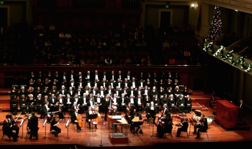 The Nashville Symphony and the Nashville Symphony Chorus gather onstage moments before a performance of Händel's Messiah, December 18, 2016, Schermerhorn Symphony Center, Nashville