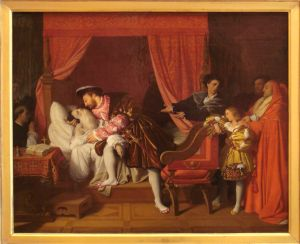 Francis I Receives the Last Breaths of Leonardo da Vinci (1818) by Jean Auguste Dominique Ingres (1780-1867)