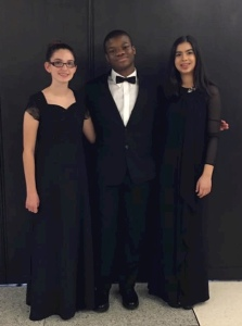 Accelerando wind students Isabel Evernham, Bernard Ekwuazi, and Aalia Hanif at MTSBOA MidState Band, January 21, 2017