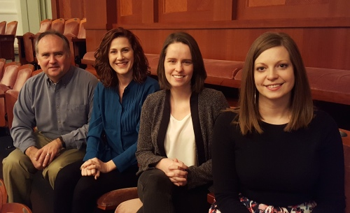 Nashville Symphony Education & Community Engagement staff: (l to r) Walter Bitner, director; Kristen Freeman, co-ordinator; Kelley Bell, program manager; Kimberly Kraft McLemore, Accelerando Manager ~ January 10, 2016