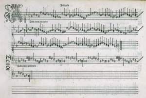Adieu mes amours (Josquin) from Harmonice Musices Odhecaton, Petrucci, 1501, Venice