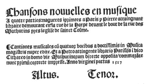 Chansons nouvelles title page, 1528