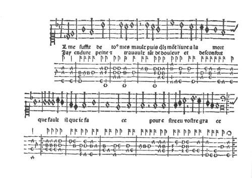 Il me suffit (Claudin) for lute and voice from Introduction (1529) ~ click to enlarge