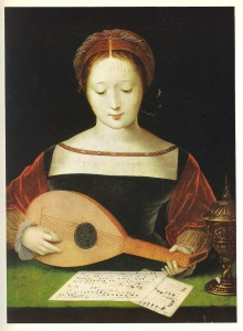 Mary Magdalene playing a lute by Master of the Female Half Lengths, (c.1490-c.1540) (click to enlarge)