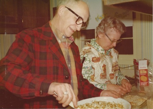 Walter & Virginia Baum Bitner in the kitchen c.1973, preparing oyster stew for Christmas Eve