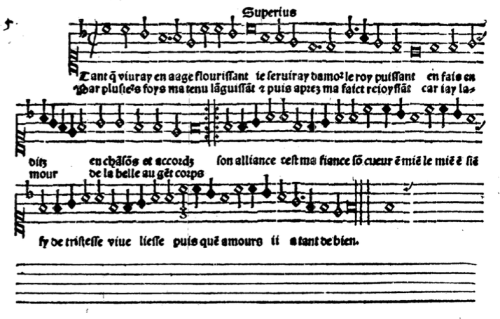 "the superius part to ""Tant que vivray"" (Claudin) from Attaingnant's Trente et sept chansons musicales a quatre parties, 1529"