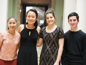 2017 Curb Concerto Competition Finalists: (l to r) Maggie Kasinger, Kaili Wang, Chloe Harvel, Daniel Hosny