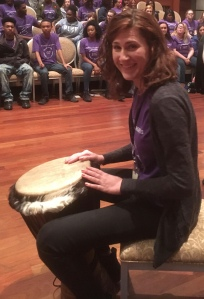 Nashville Symphony EDCE Coordinator Kristen Freeman not only was instrumental in organizing the festival, she played djembe with the choirs on Asikatali!